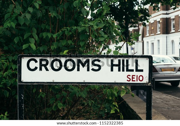 Crooms Hill street sign, Royal Borough of Greenwich, London, UK