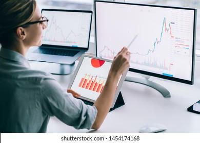 Recortar los datos estadísticos modernos sobre la contabilidad de la mujer mientras se exploran los gráficos sobre el monitor de la computadora que trabaja en el escritorio de la oficina
