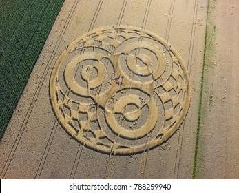 Crop circle in a cornfield at Rasiting, Upper Bavaria, Bavaria, Germany, Europe