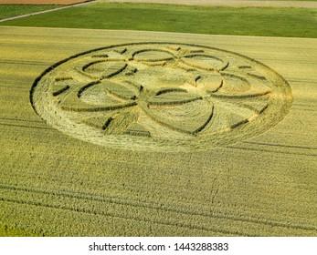 Crop circle in wheat field in Bueren an der Aare, Canton Bern, Switzerland, July 2019