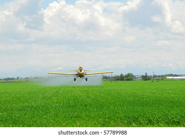 A crop duster applies chemicals to a field.