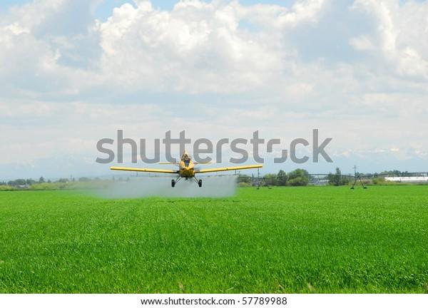 Un contenedor de cultivos aplica productos químicos a un campo.