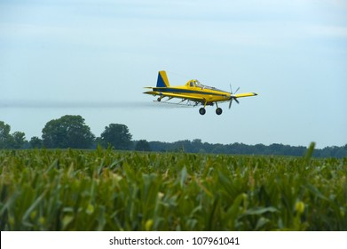 Crop Duster  spraying corn.