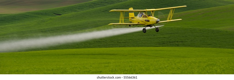 Crop dusting airplane spraying pesticide on wheat fields in the Palousezf