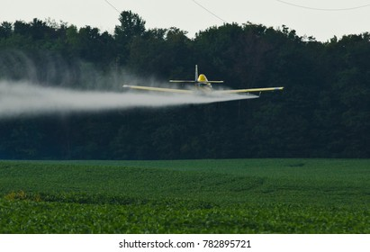 Crop Dusting plane over bean fields, Northern Indiana 2015