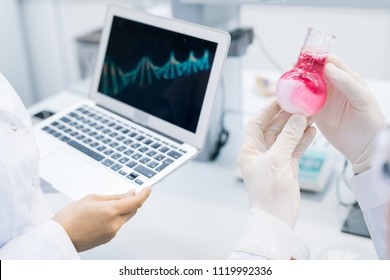 Crop hands of microbiologist holding flask with meat sample solution standing at colleague holding laptop with computer DNA model