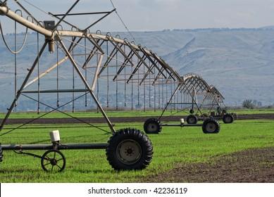 Crop irrigation system,  Golan Heights, Israel