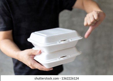 Crop male saying no to foam containers because they being toxic, environmentally dangerous and indispensable