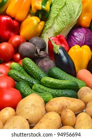 Crop of vegetables. Tomatoes, peppers, eggplant, cucumbers and other vegetables.