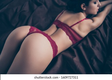Cropped close up back rear behind view photo desire tender she her lady wife perfect ideal shapes skin surprise wish want husband touches lying sheets nude red bikini boudoir room indoors bedroom