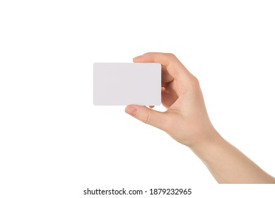 Cropped close up photo of human hand showing empty blank card with copy space isolated white background