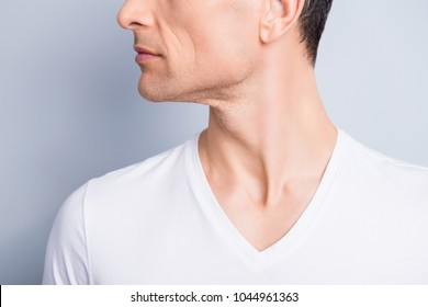 Cropped, close up profile, side view half face portrait of trendy, neat, experienced, stylish, brunet man with perfect oiled dry skin, isolated on grey background