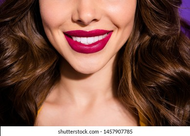 Cropped close-up view of her she nice attractive adorable perfect cheerful cheery wavy-haired lady plump sensual lips isolated over bright vivid shine violet lilac purple background
