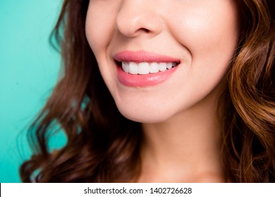 Cropped close-up view portrait of her she nice shine adorable perfect healthy white cheerful cheery wavy-haired girl every day hygiene isolated over bright vivid shine blue background