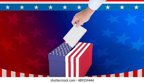 Cropped hand of man against cardboard box with american flag print