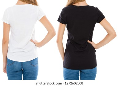 cropped image back views woman in white and black t-shirt isolated, set t shirt