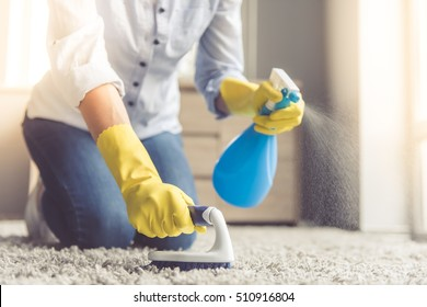Cropped image of beautiful young woman using a spray and a brush while cleaning carpet in the house