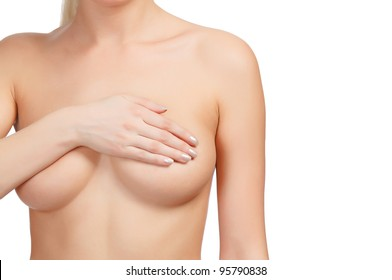 Cropped image of a female controlling breast for cancer, isolated on white background.