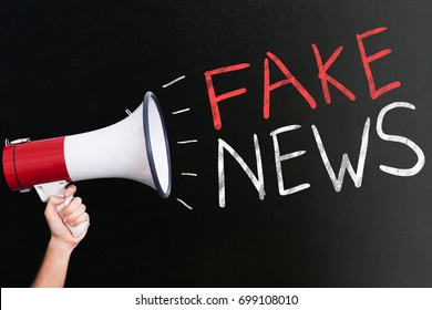 Cropped image of hand holding megaphone by fake news written on blackboard