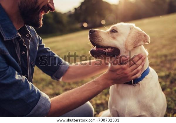 屋外で働くハンサムな若い男の画像を切り抜きました。緑の草の上に犬を置く男。犬学者