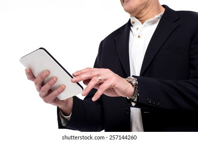 Cropped image of male hand operating mobile phone