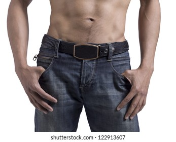 Cropped image of a man in jeans