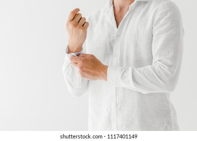 cropped image of man in linen white shirt isolated on grey background