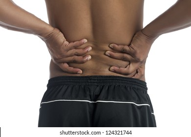 Cropped image of man with lower back pain isolated on a white surface