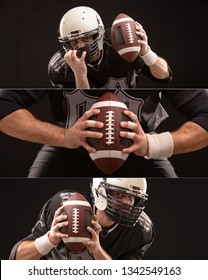 Cropped Image Of Sportsmans strong hand Holding American Football Ball