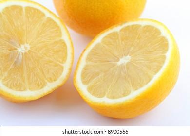 cropped lemon on white background
