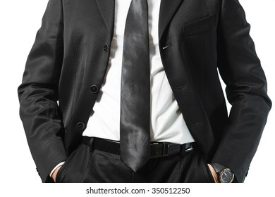 Cropped man in a suit, hand in pocket