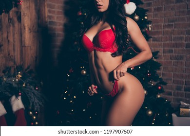 Cropped nice cool charming attractive alluring adorable feminine vogue slim gorgeous exquisite girl with pecs, press, abs, wearing lingerie, home eve noel evening fir tree party