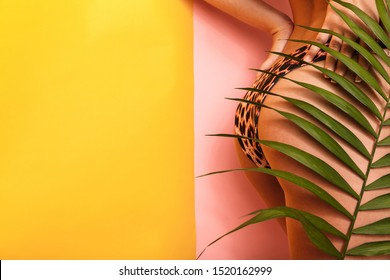 Cropped photo in profile of seductive woman wearing leopard bikini standing behind green plant isolated over multicolor background