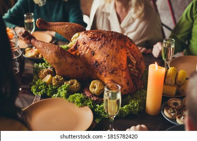 Cropped photo served table thanks giving dinner garnished turkey family generation gathering evening blessing candle fire living room indoors