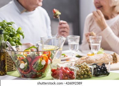 Cropped picture of an elderly couple eating a healthy dinner