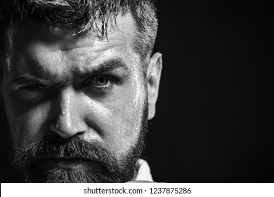 Cropped picture of karate martial arts fighter. Man in kimono for sambo, judo, jujitsu, karate, closeup. Confident serious brutal bearded man. Sport, healthy lifestyle&fitness concept. Black&white.