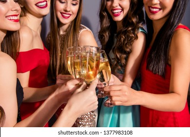 Cropped portrait of nice lovely glamorous magnificent stunning company cheerful trendy elegant ladies clinking wingelasses congratulate student shadow isolated over violet purple pastel background