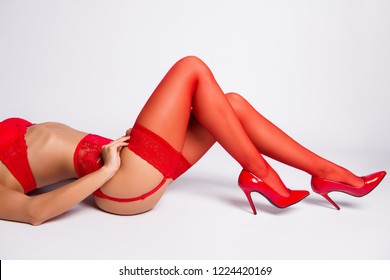 Cropped profile side of alluring lovable charming feminine exquisite lovable fascinating cool long legs wearing hose, stilettos, hip, isolated over white background