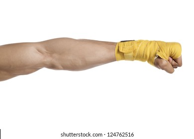 Cropped shot of a boxer's arm wrapped with yellow boxing tape