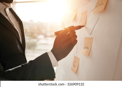 Cropped shot of businessman putting his ideas on white board during a presentation in conference room. Focus in hands with marker pen writing in flipchart. - Shutterstock ID 326909132