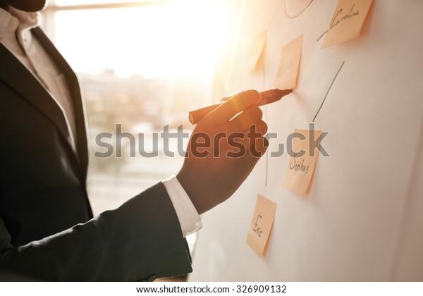 Aufnahmen von Geschäftsmann, der seine Ideen auf weißem Brett während einer Präsentation im Konferenzraum platziert. Konzentrieren Sie sich in den Händen mit dem Marker-Stift in Flipchart.