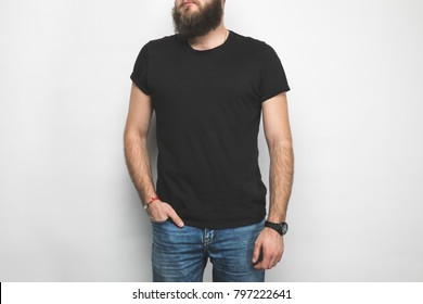 cropped shot of man in black t-shirt isolated on white