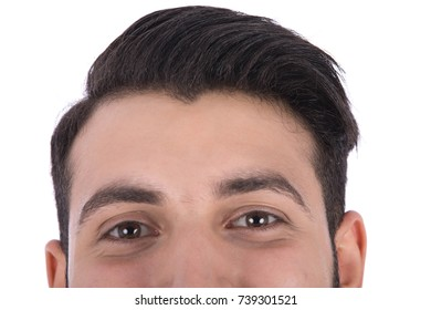 Cropped shot of man's head, he looks to the front. Isolated on white background.
