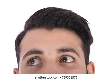 Cropped shot of man's head, he looks to the side. Isolated on white background.