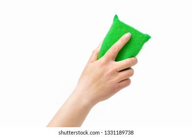 Cropped shot of an unrecognizable woman hand holding a cleaning sponge isolated on a white background