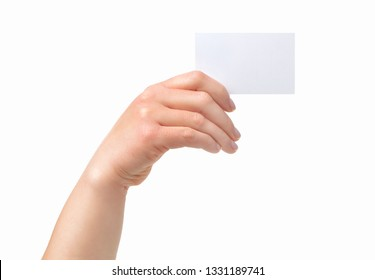 Cropped shot of an unrecognizable  woman hand showing a blank business card isolated on a white background