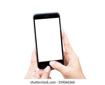 Cropped shot view of woman's hands making photo on mobile with white background