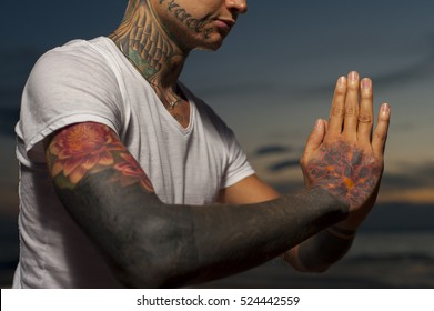 yoga tattoo images stock photos  vectors  shutterstock