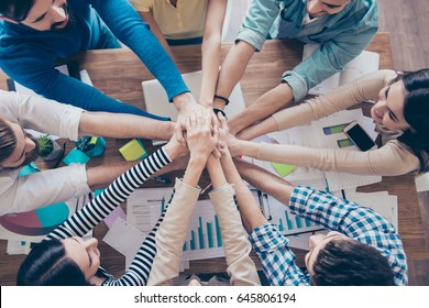 Cropped topview of businesspeople putting their hands on top of each other in nice light workstation, wearing casual clothes. Conception of successful teambuilding