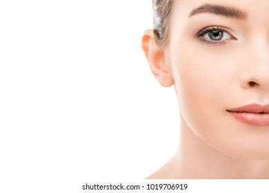 cropped view of attractive woman with clean skin, isolated on white